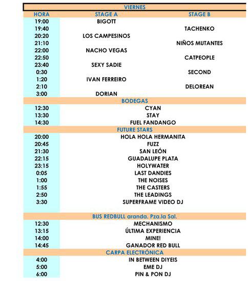 Horarios del Sonorama 2011 - Viernes 12