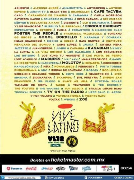 Vive Latino 2012 - Cartelera