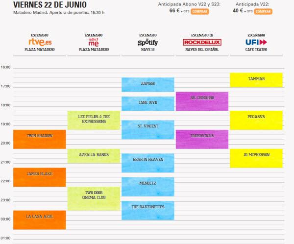 Horarios Día de la Música 2012 - Viernes