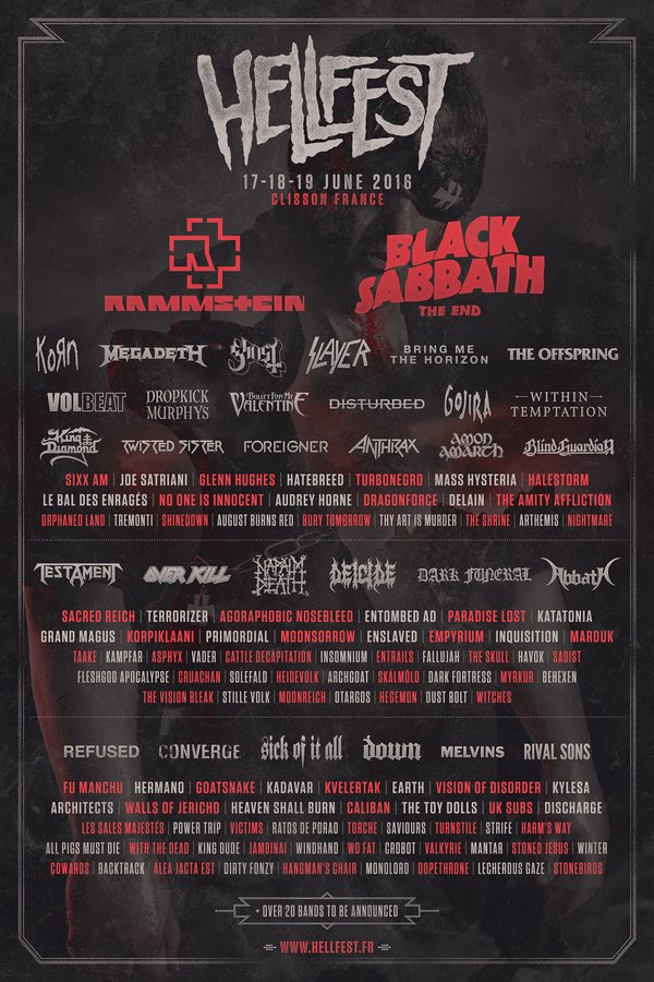hell fest 2016 - HELLFEST 2016 cartel casi completo