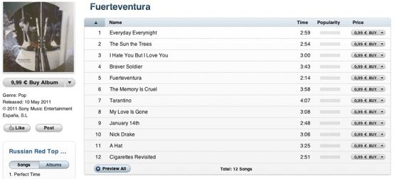 Descarga Fuerteventura de Russian Red desde la iTunes Store
