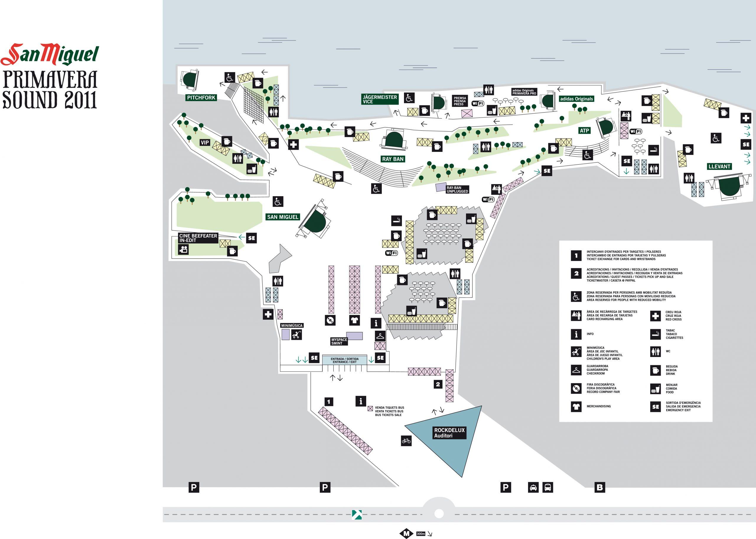 Mapa Primavera Sound 2011