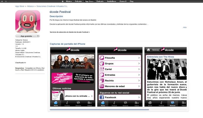 App para iPhone del DCode Festival