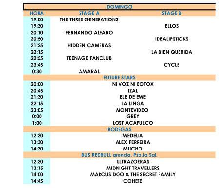 Horarios del Sonorama 2011 - Domingo 14