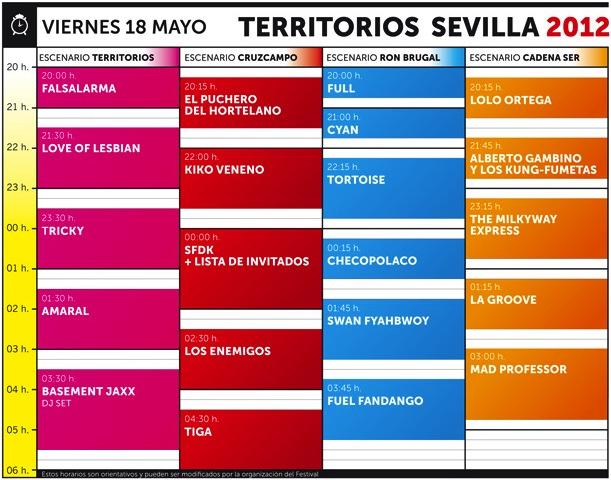 Horarios Viernes - Territorios Sevilla 2012