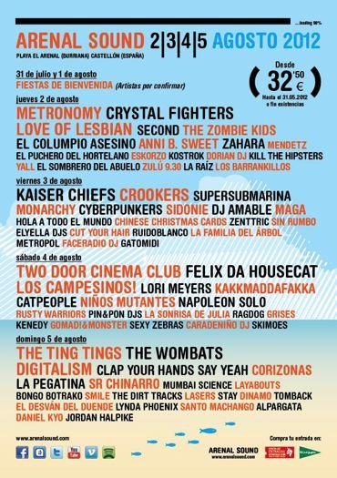 Arenal Sound 2012 - Cartel por días