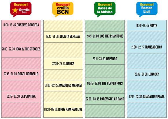 Cruïlla Barcelona 2012 - Horarios - Viernes