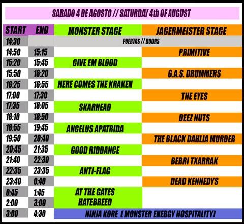 Horarios Resurrection Fest 2012 - Sabado