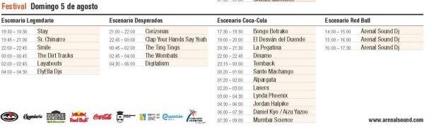 Arenal Sound 2012 - Horarios Domingo