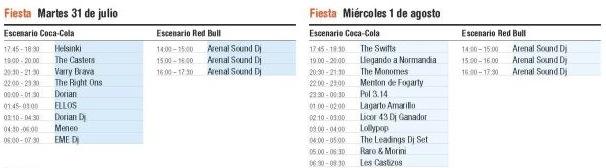 Arenal Sound 2012 - Horarios Fiesta