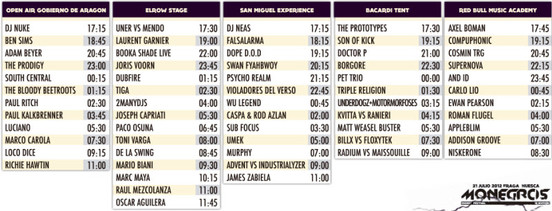 Monegros Festival 2012 - Horarios