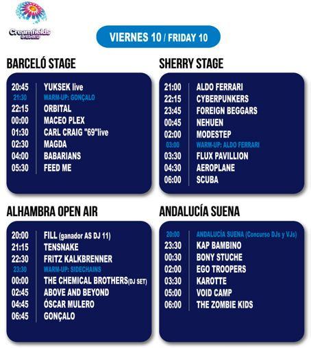 Creamfields 2012 - Horarios Viernes