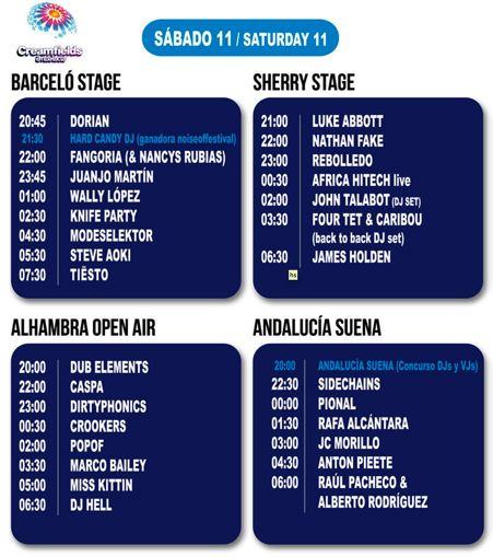 Creamfields 2012 - Horarios Jueves