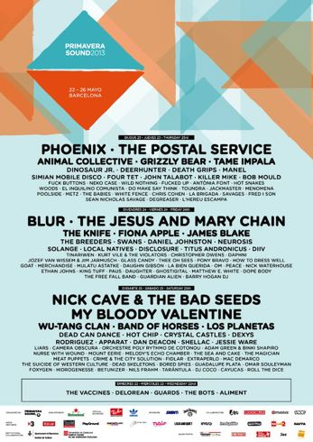 Primavera Sound 2013 Cartel