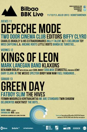 Bilbao BBK Live 2013 - Cartel por días