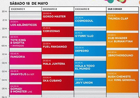 Horarios Territorios Sevilla 2013 - Sábado