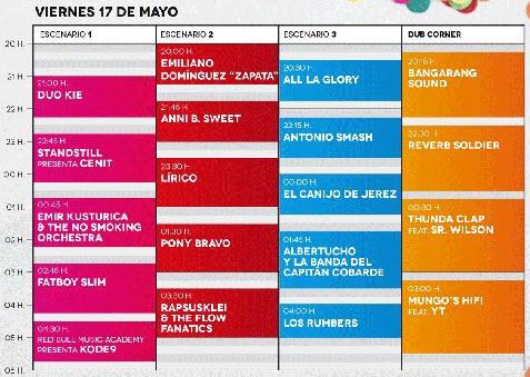 Horarios Territorios Sevilla 2013 - Viernes