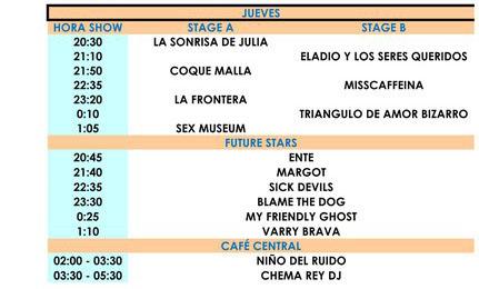 Horarios del Sonorama 2011 - Jueves 11