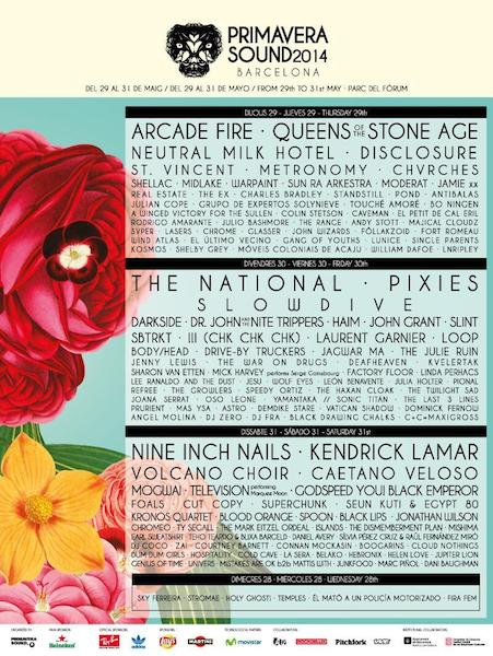 Primavera Sound 2014 - Cartel