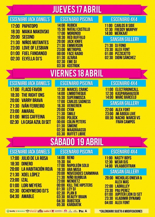 Horarios San San Festival 2014