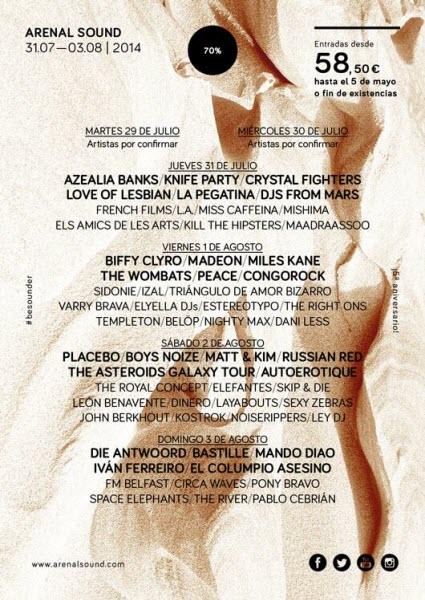 Arenal Sound 2014 - Cartel por días