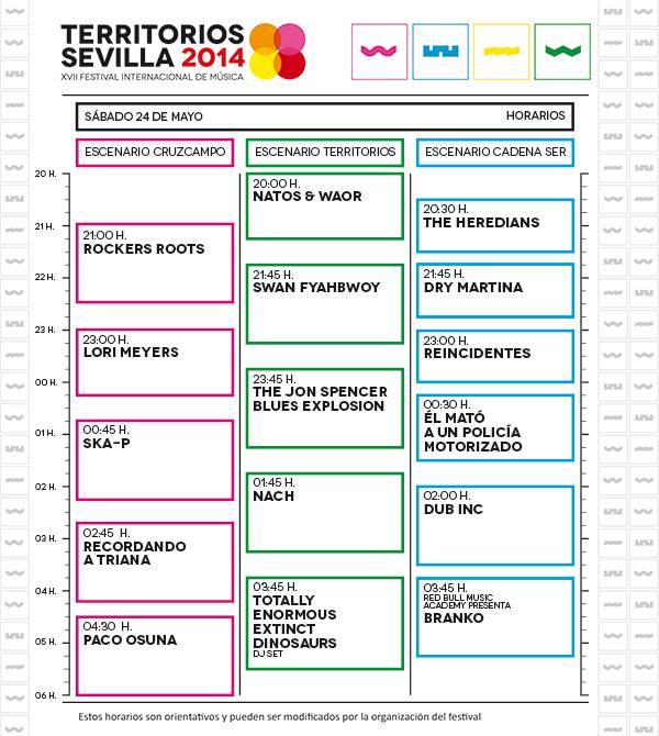 Territorios Sevilla 2014 - Horarios Sabado