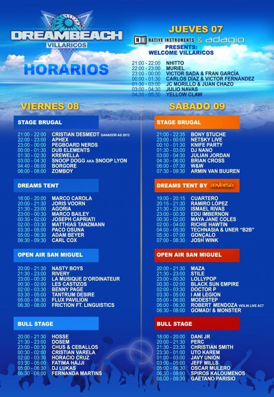 Horarios DreamBeach Villaricos 2014