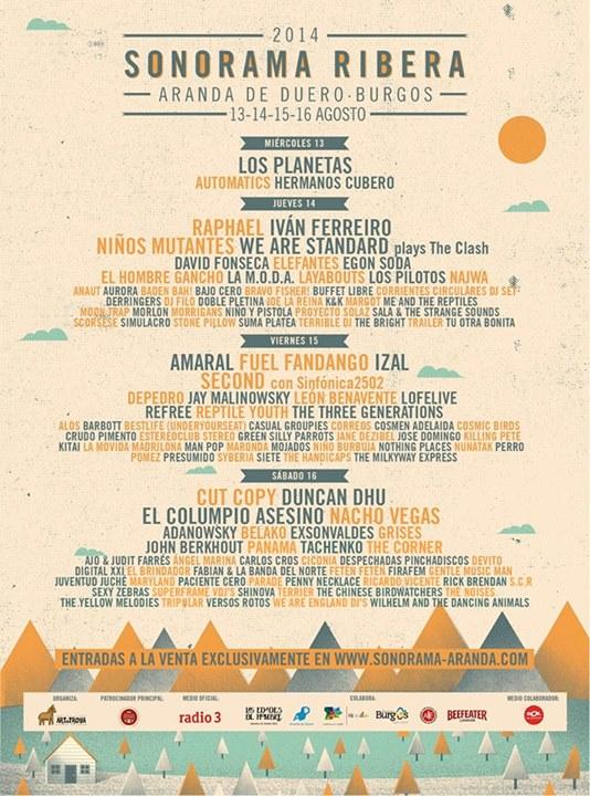 Sonorama 2014 - Cartel por días