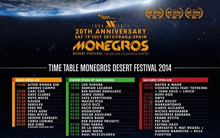 Horarios Monegros Desert Festival 2014