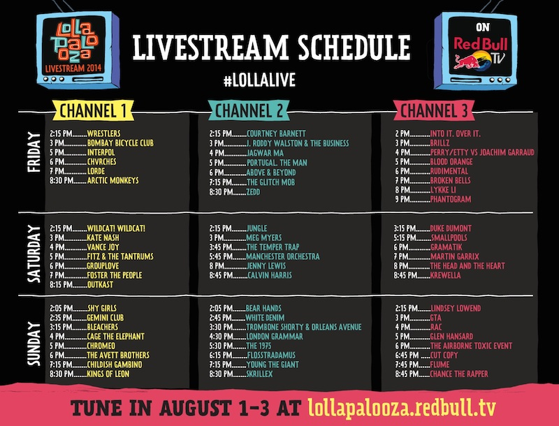 Streaming Lollapalooza 2014 - Horarios