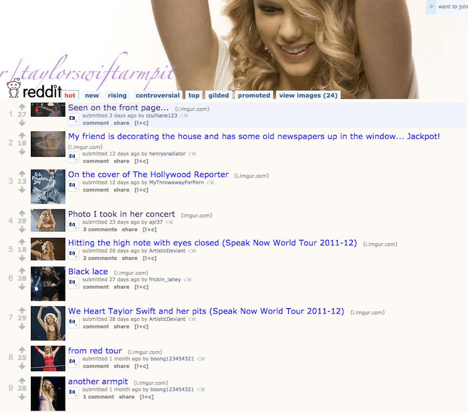 Taylor Swift - Reddit - La comunidad de las axilas