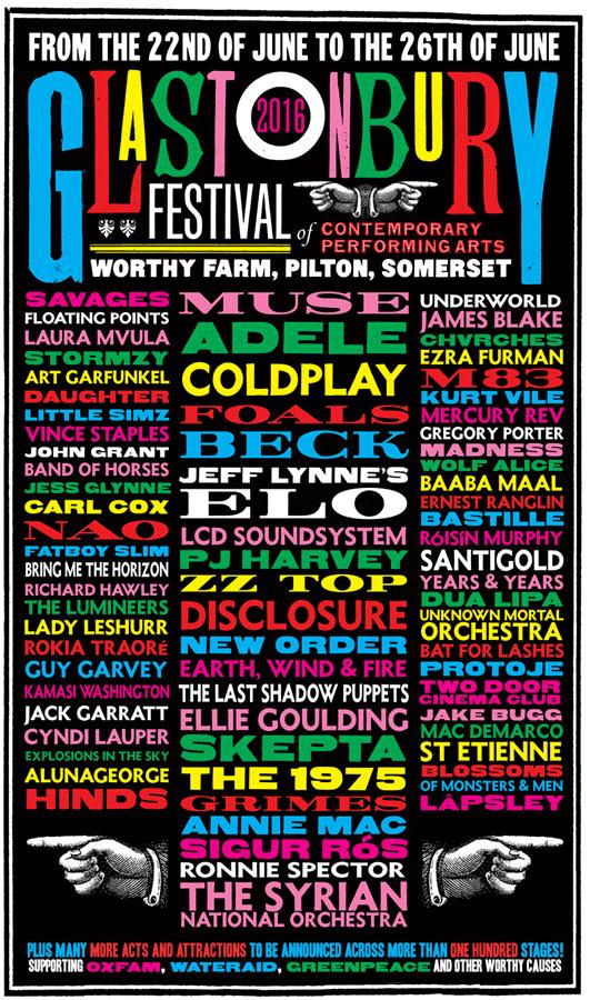 Cartel Glastonbury Festival 2016