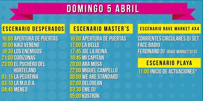 Horarios SanSan Festival 2015 - Domingo