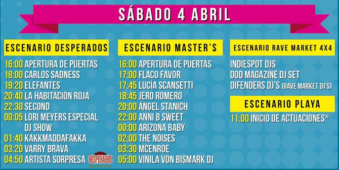 Horarios SanSan Festival 2015 - Sábado