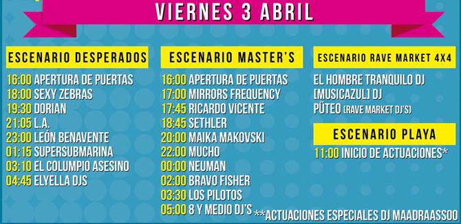 Horarios SanSan Festival 2015 - Viernes