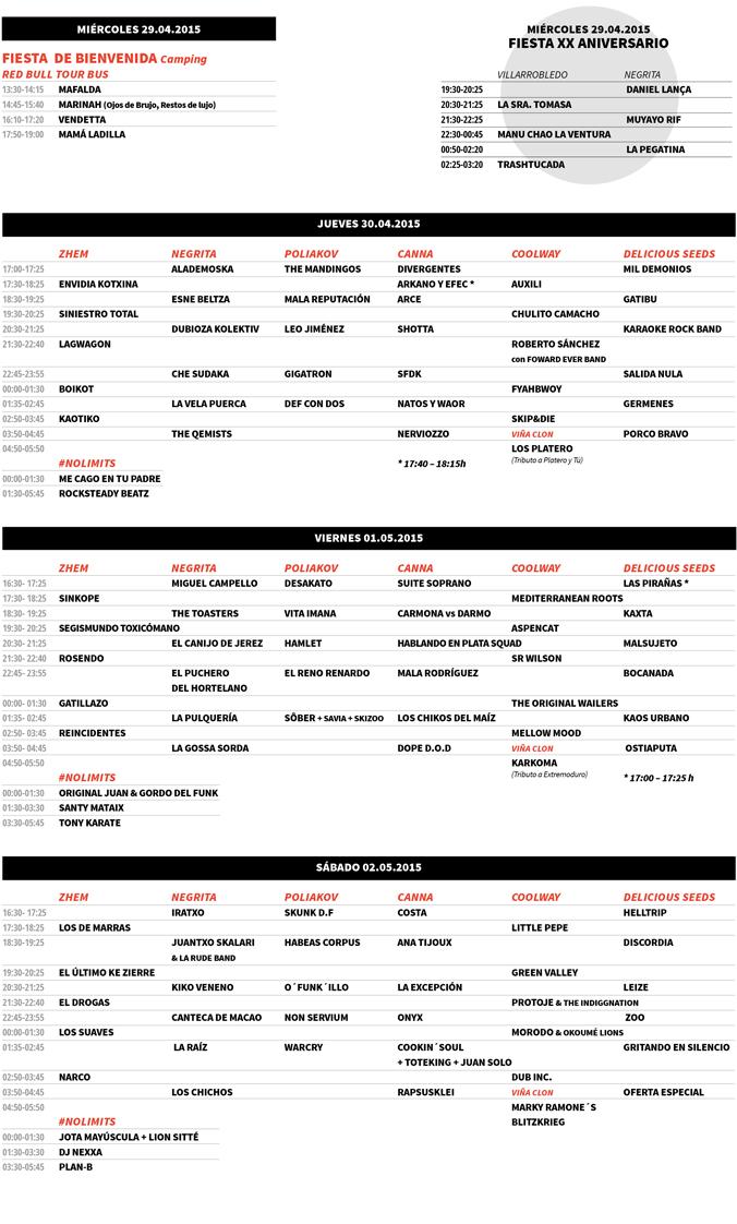Horarios Viña Rock 2015