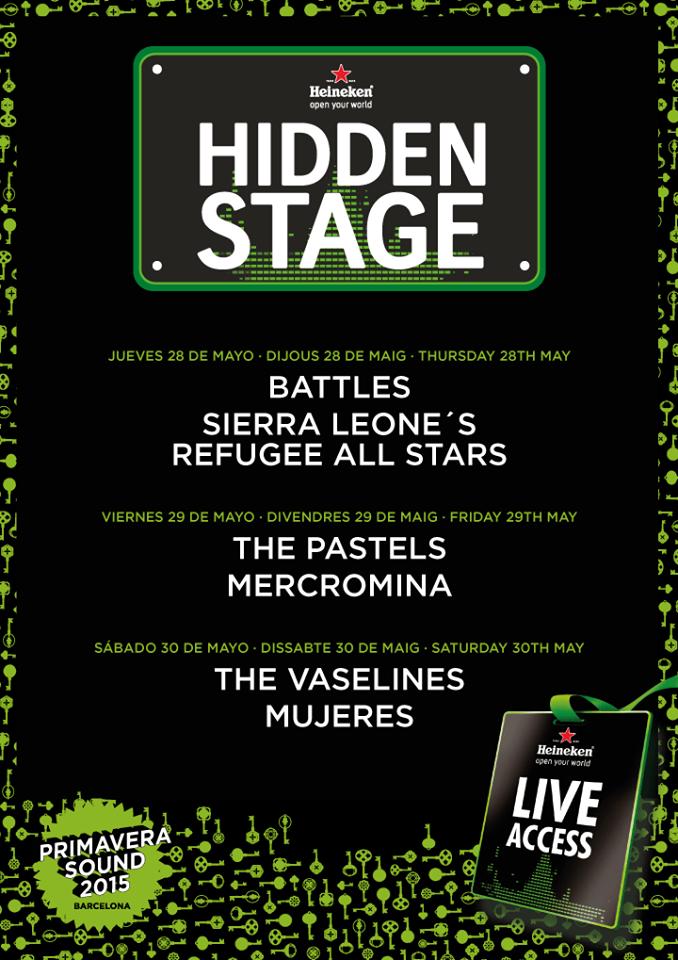 El Primavera Sound 2015 desvela el cartel del Hidden Stage
