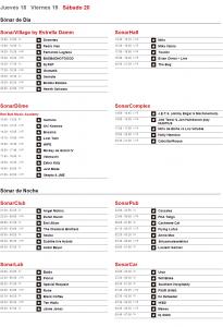 Horarios Sónar 2015 - Viernes