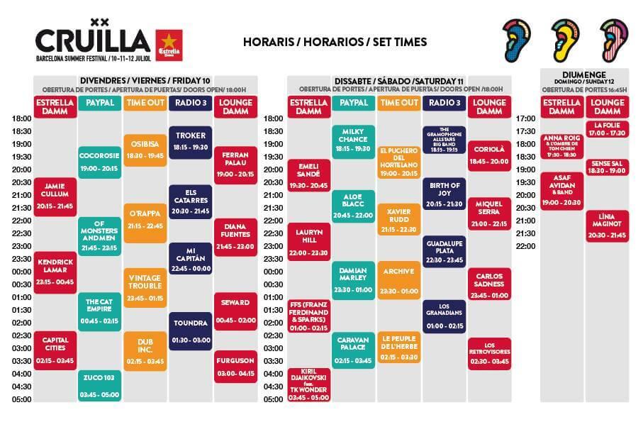 Horarios del Crüilla Barcelona 2015