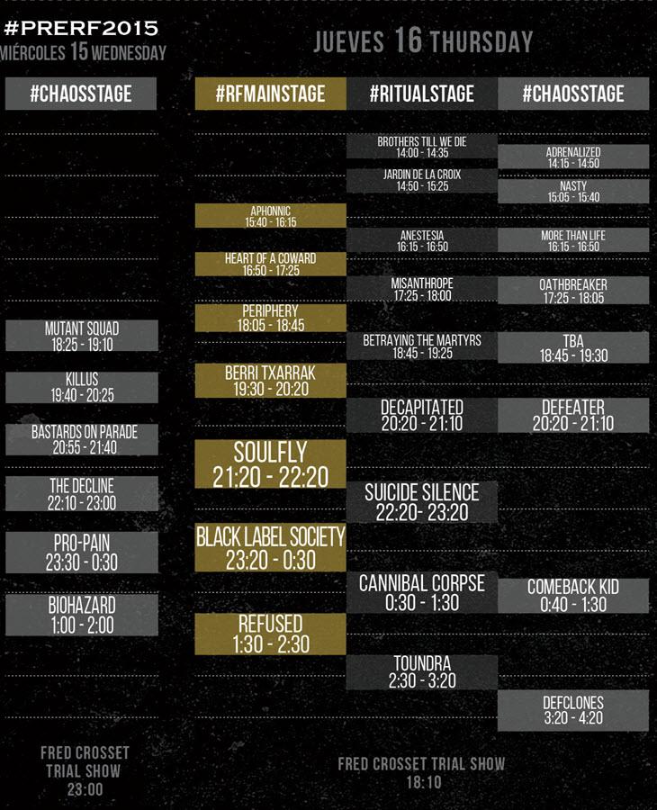 Horarios Resurrection Fest 2015 - Miércoles y Jueves