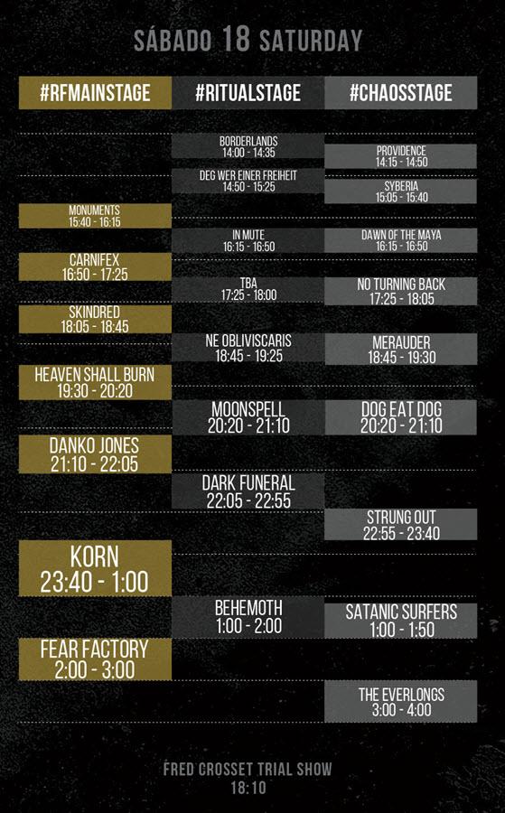 Horarios Resurrection Fest 2015 - Sábado