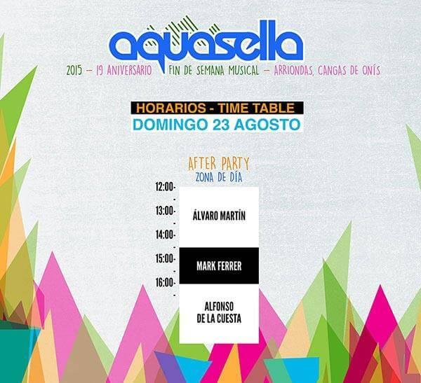 Horarios Aquasella 2015 - Domingo