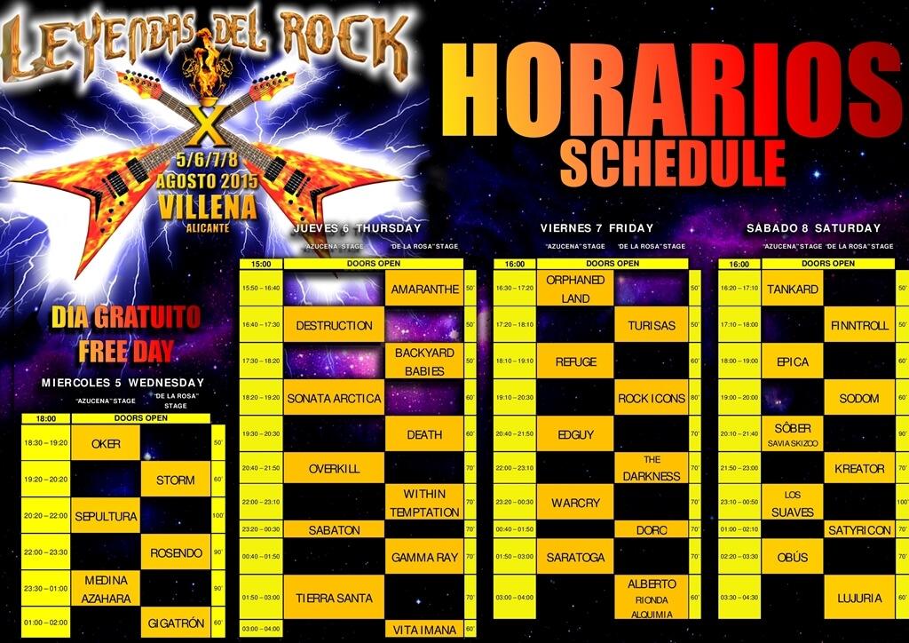 Horarios Leyendas del Rock 2015 - Escenario Principal