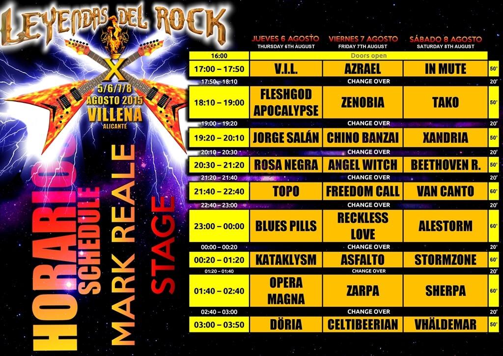 Horarios Leyendas del Rock 2015 - Escenario Reale