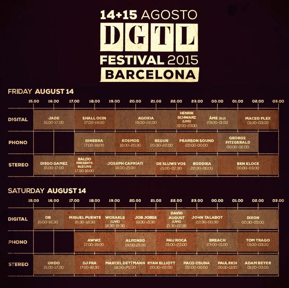 Horarios del DGTL Festival Barcelona