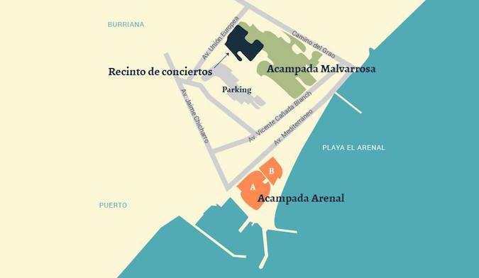 Mapa Arenal Sound 2016