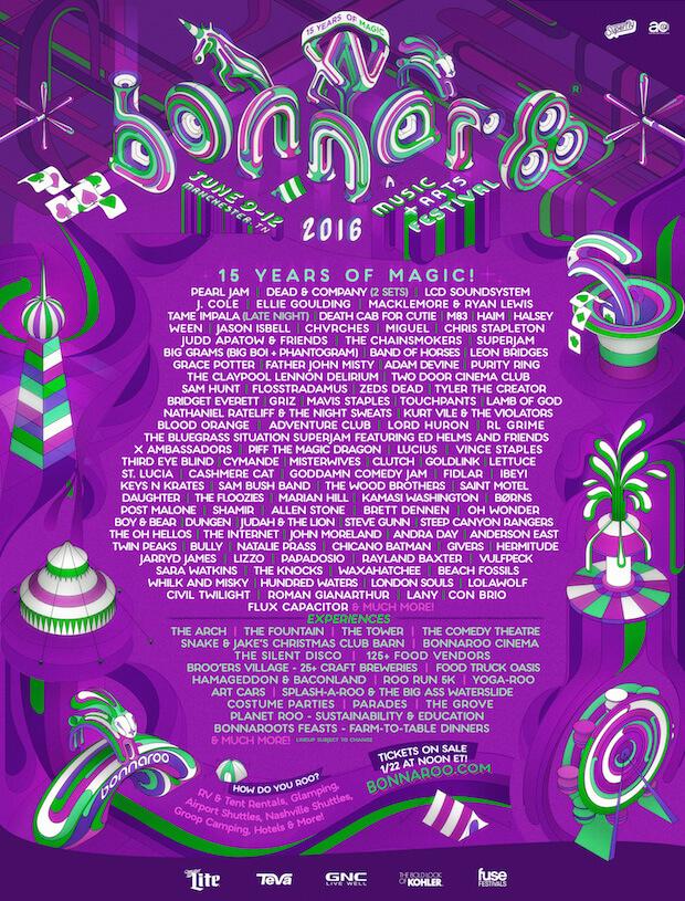 Bonnaroo 2016 Festival - Cartel