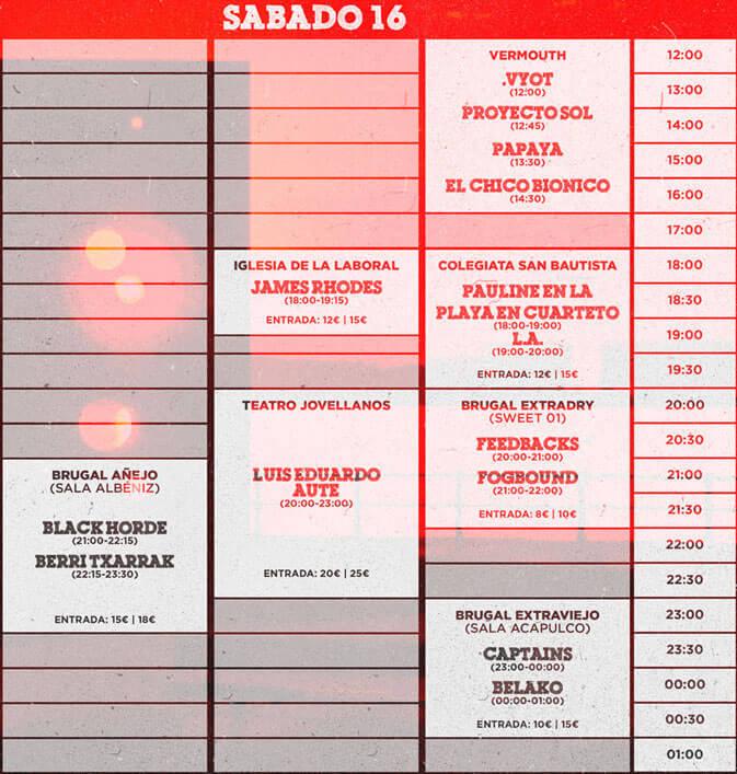 Gijón Sound Festival 2016 - Horarios Sábado