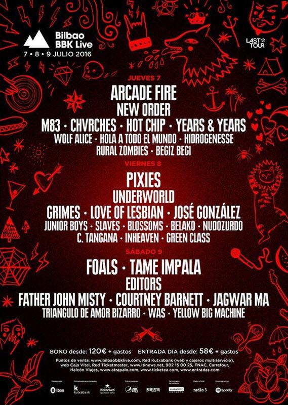 Bilbao BBK Live 2016 - Cartel por días