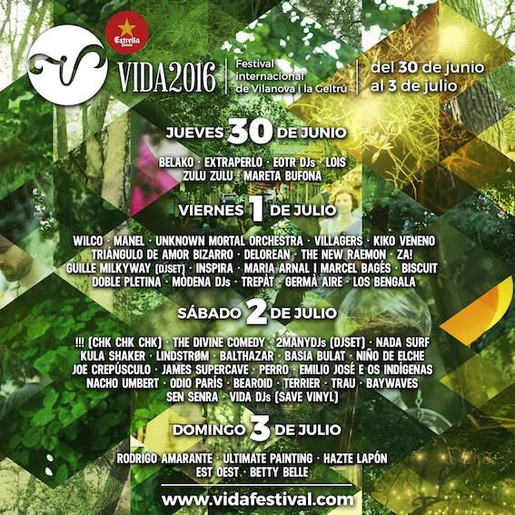 VIDA Festival 2016 - Cartel por días